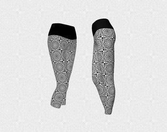 Black and White Mandala Tile Pattern Women's Workout Yoga Leggings, Long or Capri Style