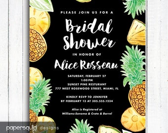Pineapple Bridal Shower Invitation, Pineapple Invitation, Aloha invitation, Personalized Tropical invitation, Digital File,  Item 194C