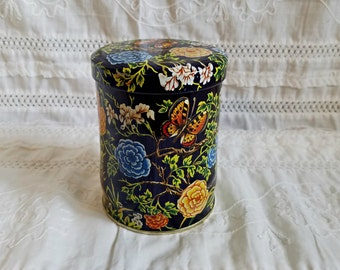 Vintage Daher Navy Blue Floral Butterfly Tin Made In England