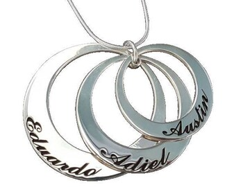 Three Circle Necklace, 925 Sterling Silver, Personalized Circle Necklace,  Mothers Necklace, Personalized Discs Engraved Mom New Jewelry