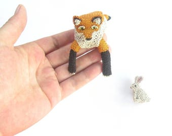 Fox shoulder brooch and rabbit brooch - fox jewelry, animal brooches, unusual jewelry