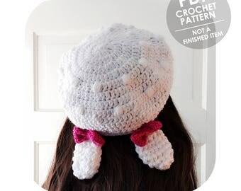 crochet pattern - bunny ears beret with bows - adorable slouchy beret - crochet beret pattern - crochet bunny ears