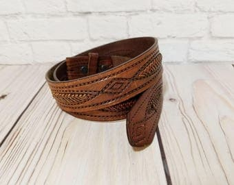 Vintage Brown Leather Resistol Belt Size 36