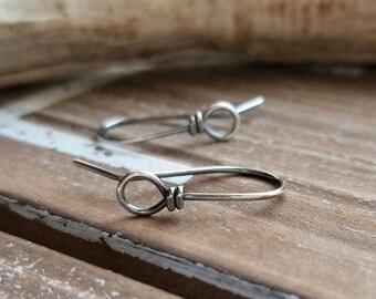 Sterling Silver Earwires, Rustic Front Face Loop Ear Wires, Antiqued Handmade Wild West - 2 pair Earring Findings