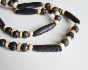 Ethnic Bead Necklace - Handmade Ceramic Dark Grey and Cream Beads in Long Necklace