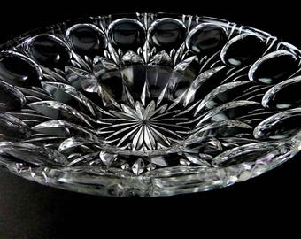 Vintage Mid Century Thumbprint Optic Centerpiece Console Clear Lead Crystal Glass Bowl