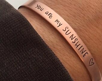 You are my Sunshine Bracelet - Copper Cuff Bracelet - Sunshine bracelet - Stacking Bracelet - Hand Stamped Cuff