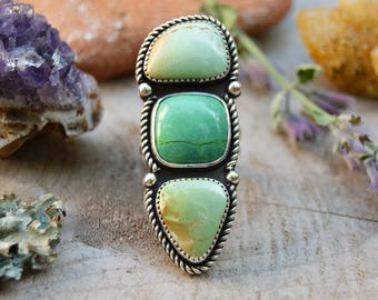 Boho Triple Stone Ring. Monochromatic Green Turquoise Ring. Sterling Silver Ring. One of a Kind Jewelry. Statement Ring. Size 6