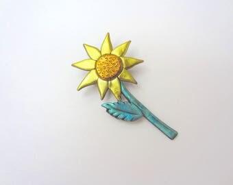 Sunflower pin brooch
