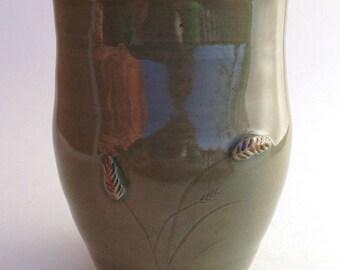 Oblong Celadon Ceramic Prairie Vase