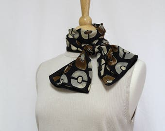 Vintage Long Scarf, Silky Polyester Scarf, Black Gray Brown Circles Print Scarf, Classic Scarf, Polka Dot, Oblong Scarf, Fall Winter Scarf