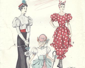 1950s Butterick 6342 Vintage Sewing Pattern Misses Costume Gay Nineties Late Victorian Dress, Bathing Suit, Little Bo Peep Size Bust 34