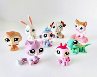 Eight Littlest Pet Shop LPS figurines with bobblin' heads lady bug, Puppy, Kitty Cat, owl, monkey Game Pcs party supply favors cake toppers