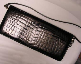 Elegant Cole Haan 1928 Alligator Clutch Handbag - Black Leather