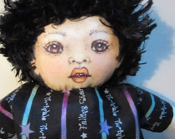 OOAK Cloth Doll, Artist Doll, Collectible,