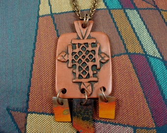 One of a Kind Necklace of Handmade Earthenware Clay Coptic Cross Pendant with Wasserglas Hangies, Copper Chain and Toggle Closure