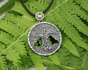 Tree of Life in green - carved, silver pendant with olivine, unisex, limited collection