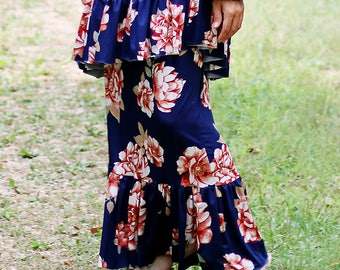 LillyAnnaLadies Anna Floral Ruffled Skirt