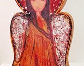 Angel Dorado  - Wooden Doll - ( 8 inches) Folk Art  by FLOR LARIOS