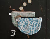 Scratch Screen printed coin pouch or purse in Soft green by Lu Summers. Ready to ship!
