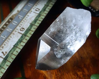Quartz - Clear Quartz Point - Lemurian Quartz with Chlorite Inclusions - Lemurian Quartz Time Link - Clear Quartz Crystal with Dark Chlorite