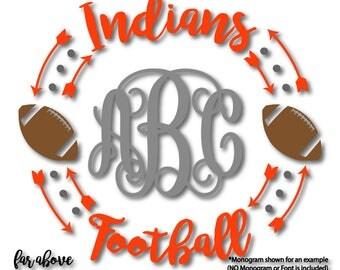 Indians Football Team Headdress Feathers Monogram Wreath (monogram NOT included) SVG, EPS, dxf, png, jpg digital cut file Silhouette Cricut