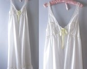 White Cotton Nightgown | 1970s White Cotton Eyelet Summer Nightgown S/M