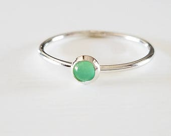 Chrysoprase Ring Green Gemstone Stacking Ring