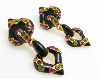 Rhinestone Heart Earrings Shakira Caine Vintage Jewelry E8043