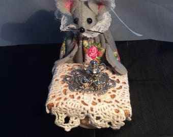 Mouse with a Silver Tea Set