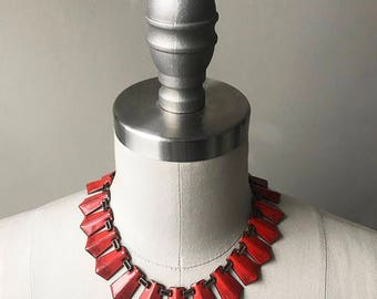 Vintage 1940s 1950s Matisse red orange copper enamel necklace and earrings set