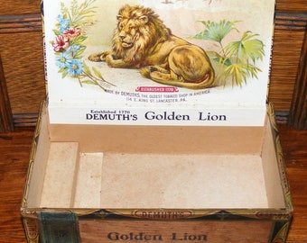 Antique DEMUTH'S GOLDEN LION Wood Cigar Box Wonderful Lion Lithograph Litho