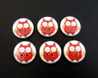"""6 Owl buttons.  Red Owl handmade buttons. Sewing Buttons.  3/4"""" = 20 mm."""