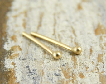 Tiny gold studs, 14k gold studs, Ready To Ship! YELLOW gold, solid gold post earrings, one pair of teeny balled studs.