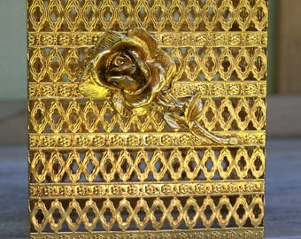 Vintage Ormolu Gold Metal Filigree Kleenix Box Rose