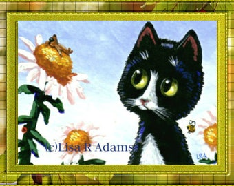 Whimsical Cat Mouse ACEO art  print of original painting Giclee Creationarts