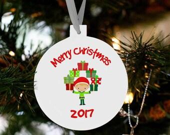 Santa's boy elf Christmas ornament - kids toddlers boys custom ornament EBO
