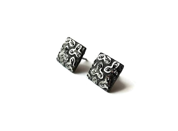 Black and silver druzy flowers square stud earrings - Hypoallergenic pure titanium and resin