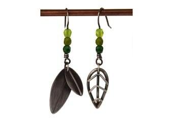 Asymmetric Earrings, Silver Leaf Earrings, Botanical Jewelry, Minimal Earrings, Oxidized Silver Earrings, Bohemian Jewelry Sterling Silver