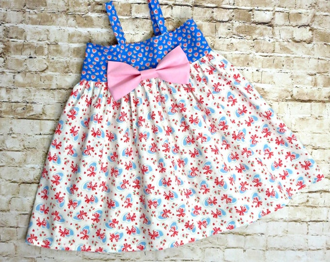 Toddler Girl Summer Dress - Girls Boutique Dress - Baby Girl Clothes - Big Pink Bow Dress - Photoshoot Dress - Sizes 6 months to 8 years