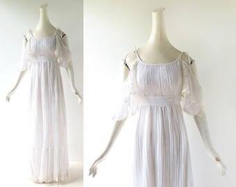 Vintage Gunne Sax Dress | White Gauze Dress | 1970s Dress | XS