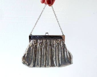 Whiting and Davis Bag   1940s Purse   Silver Mesh Purse
