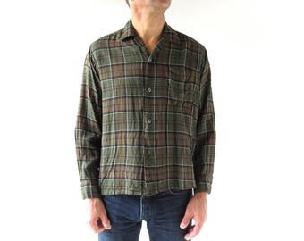 Men's Plaid Shirt | 1960s Shirt | 60s Men's Shirt | Medium M