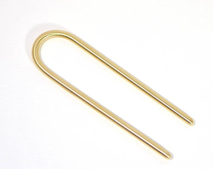 RESERVED - Brass Hair Fork 3 inch Hair Fork Strong Hair Slide Brass U-Fork Small Hair Fork Brass