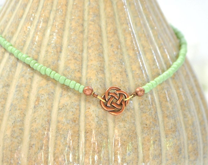 Celtic Anklet Green Copper Celtic Ankle Bracelet Adjustable Anklet Handmade Jewelry Celtic Jewelry