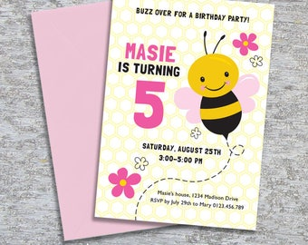 Bee Party Invitation - DIY Printable Personalized - Pink (Digital File)
