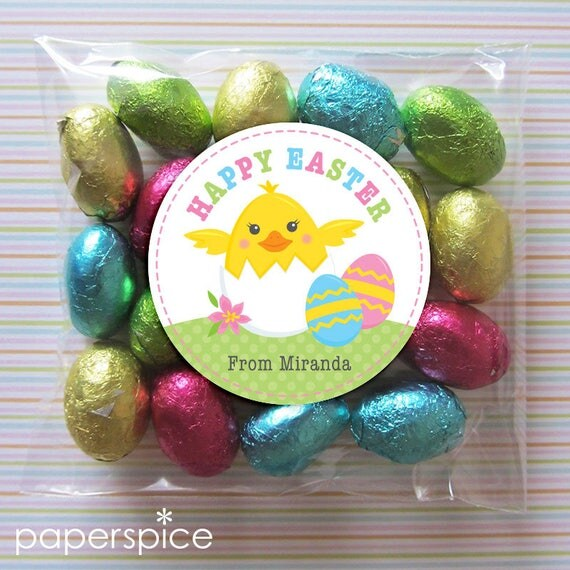 Personalized easter gift tags or stickers diy printable 2 25 personalized easter gift tags or stickers diy printable 2 25 or 3 inch circle hatching chick digital file from paperspice on etsy studio negle Images