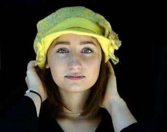 felt newsboy cap Handmade lemon yellow felt hat felted beanie felt cap wool nunofelt hat sun hat