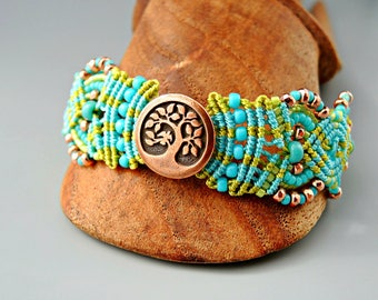Tree of Life Aqua and Chartreuse Bracelet - Green and Blue Micro Macrame Bracelet - Bird in a Tree Copper Button Focal -