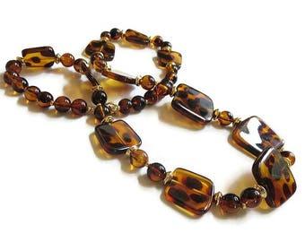 Leopard Spots Lucite Beaded Necklace Vintage Beads